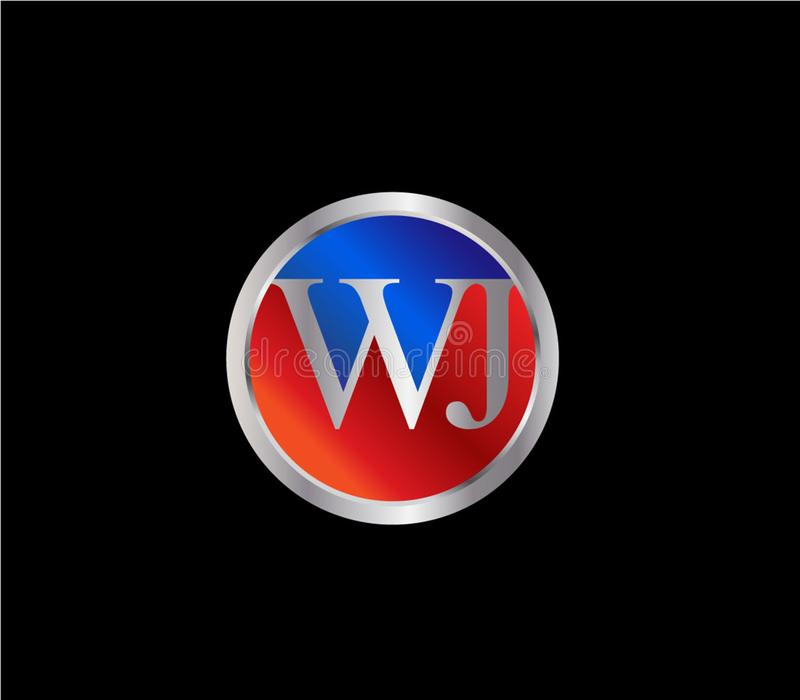 Forma inicial Logo Design posterior color plata azul rojo del círculo de WJ libre illustration