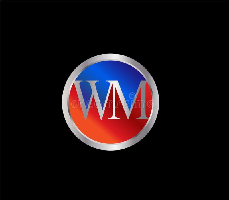 Forma inicial Logo Design posterior color plata azul rojo del círculo de WM stock de ilustración