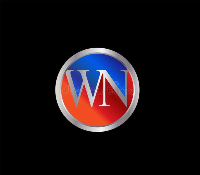 Forma inicial Logo Design posterior color plata azul rojo del círculo de WN stock de ilustración