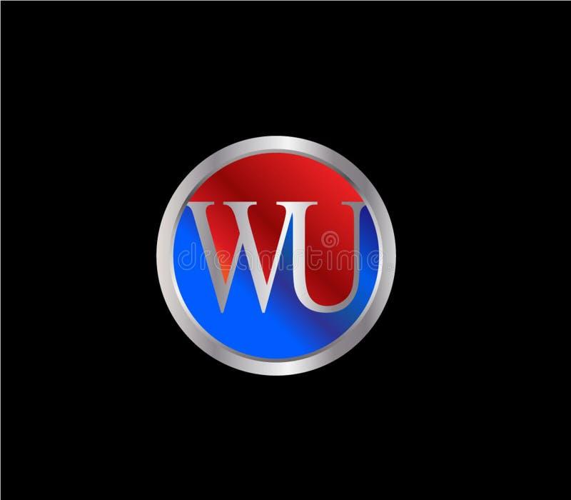 Forma inicial Logo Design posterior color plata azul rojo del círculo de WU ilustración del vector