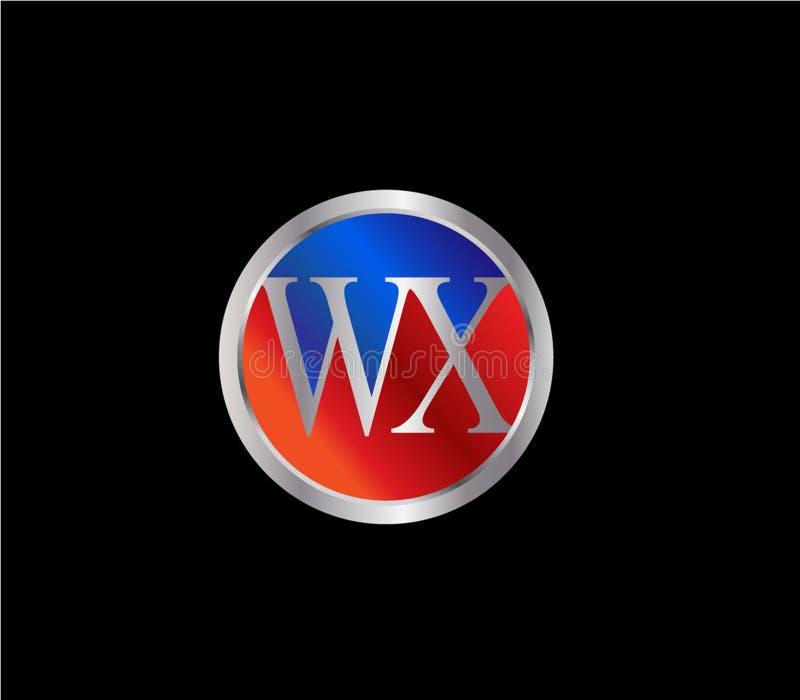 Forma inicial Logo Design posterior color plata azul rojo del c?rculo de WX stock de ilustración