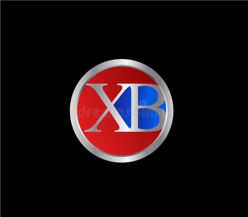 Forma inicial Logo Design posterior color plata azul rojo del círculo de XB libre illustration