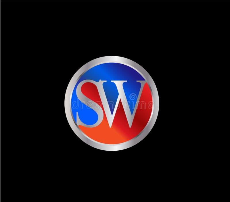 Forma inicial Logo Design posterior color plata azul rojo del círculo del interruptor stock de ilustración