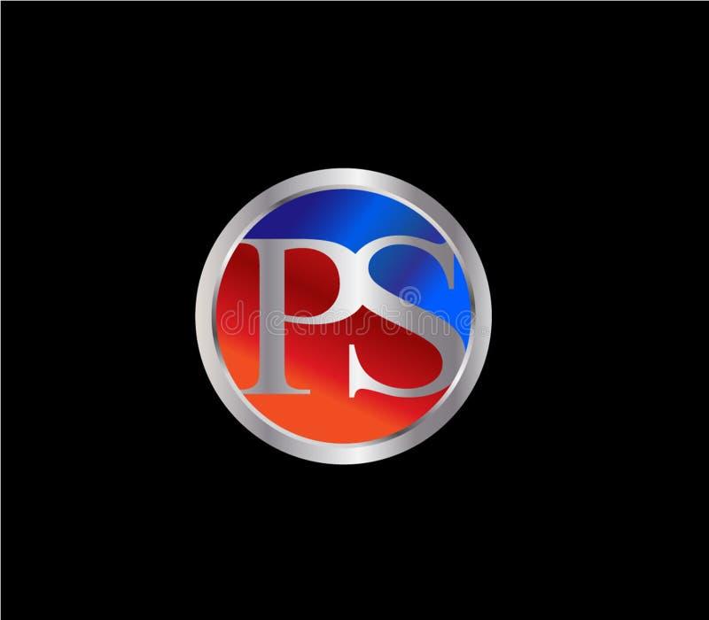 Forma inicial Logo Design posterior color plata azul rojo del círculo del picosegundo stock de ilustración