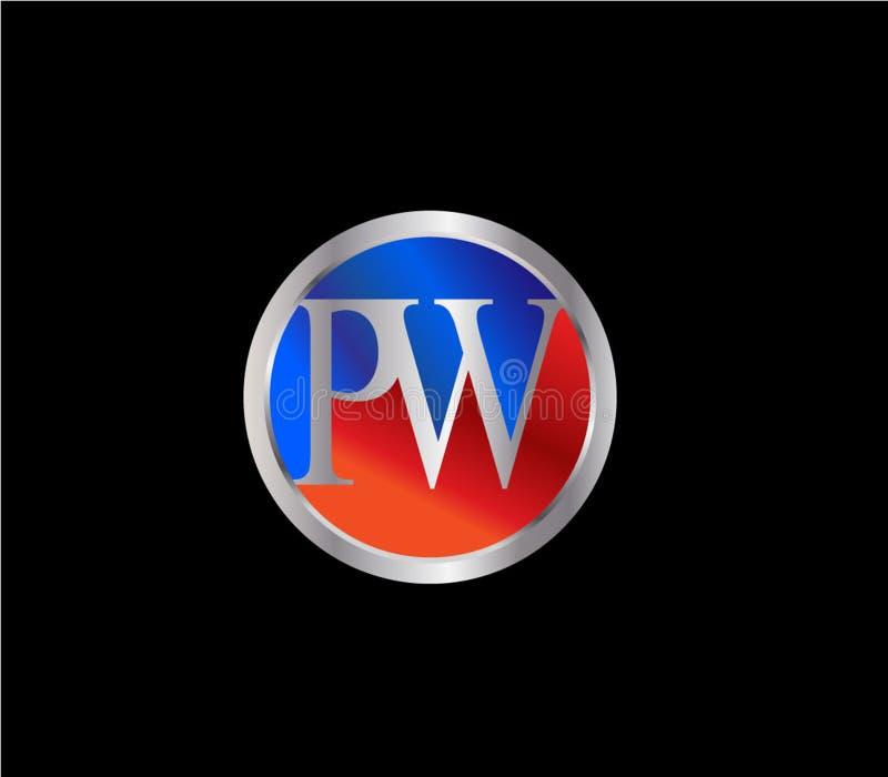 Forma inicial Logo Design posterior color plata azul rojo del círculo del picovatio stock de ilustración