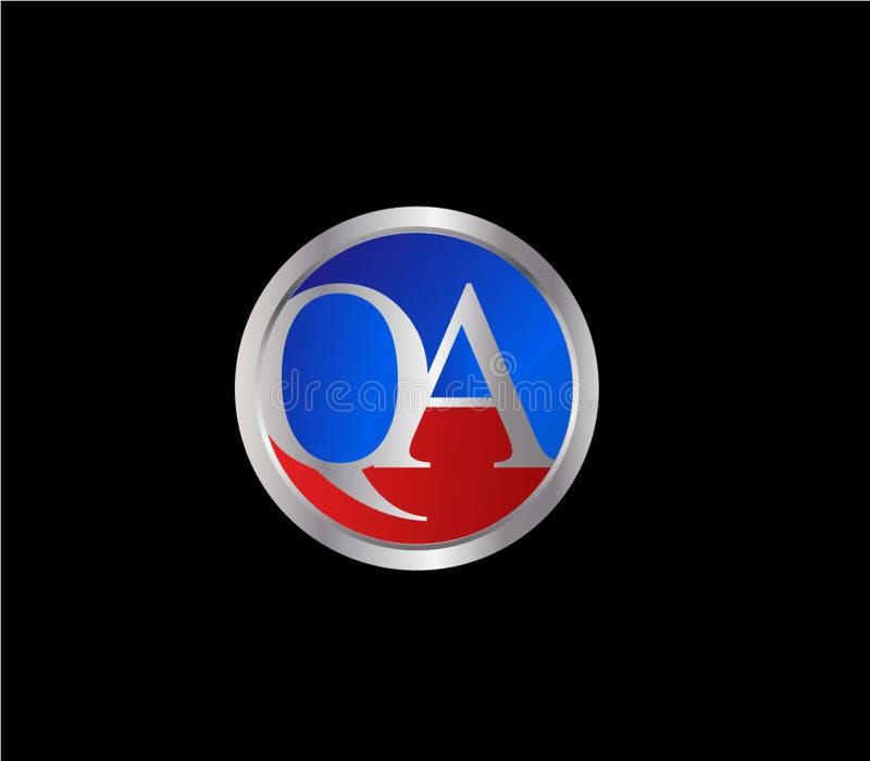 Forma inicial Logo Design posterior color plata azul rojo del c?rculo del QA stock de ilustración