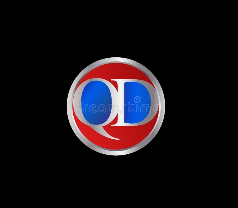 Forma inicial Logo Design posterior color plata azul rojo del c?rculo del QD libre illustration