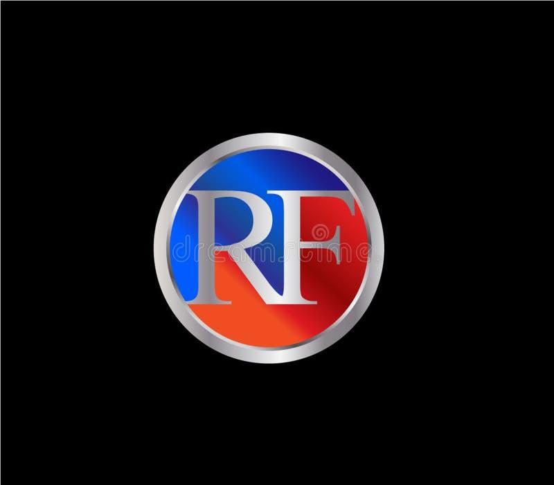 Forma inicial Logo Design posterior color plata azul rojo del círculo del RF ilustración del vector