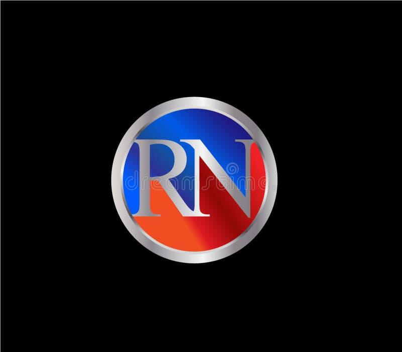 Forma inicial Logo Design posterior color plata azul rojo del círculo del RN libre illustration