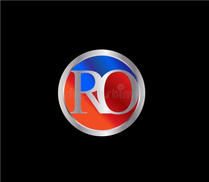 Forma inicial Logo Design posterior color plata azul rojo del círculo del RO ilustración del vector
