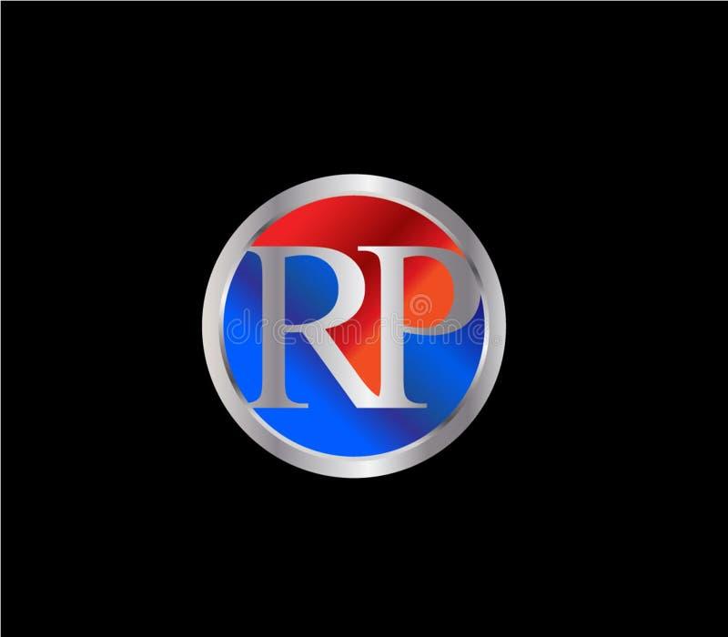 Forma inicial Logo Design posterior color plata azul rojo del círculo del RP ilustración del vector