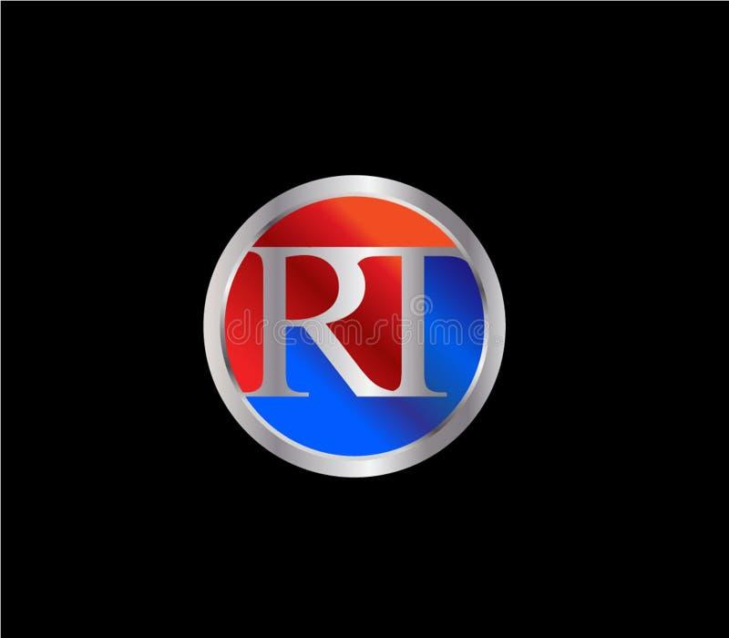 Forma inicial Logo Design posterior color plata azul rojo del círculo del RT stock de ilustración