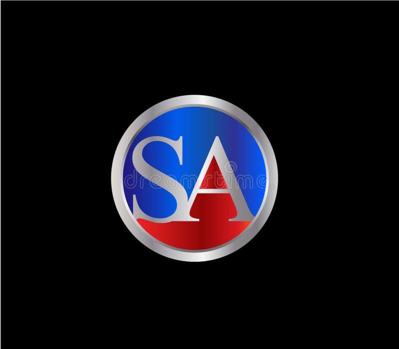 Forma inicial Logo Design posterior color plata azul rojo del círculo del SA libre illustration