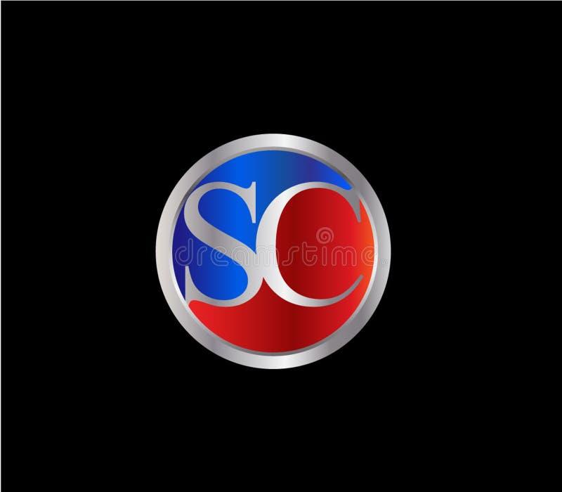 Forma inicial Logo Design posterior color plata azul rojo del c?rculo del SC ilustración del vector