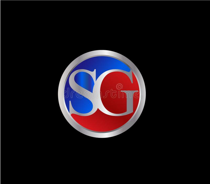 Forma inicial Logo Design posterior color plata azul rojo del c?rculo del SG ilustración del vector