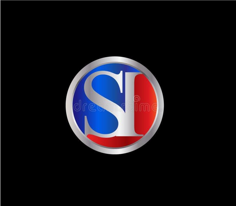 Forma inicial Logo Design posterior color plata azul rojo del círculo del SI ilustración del vector