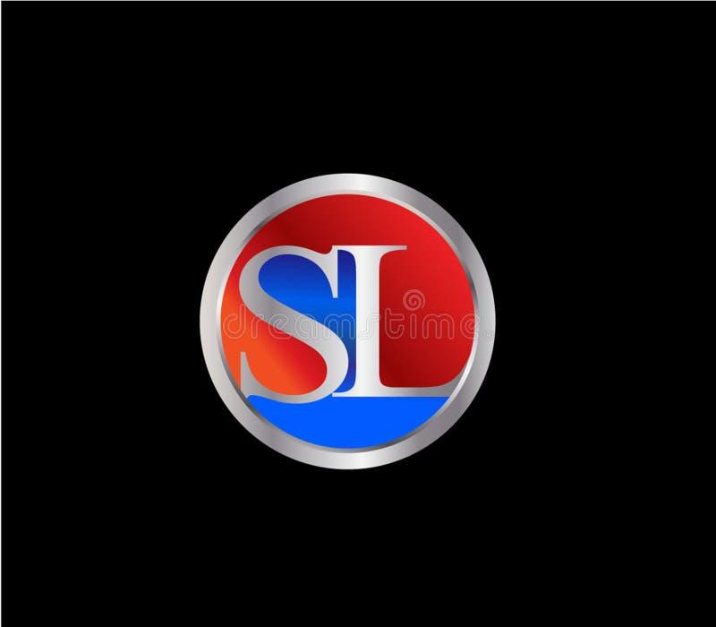Forma inicial Logo Design posterior color plata azul rojo del círculo del SL libre illustration