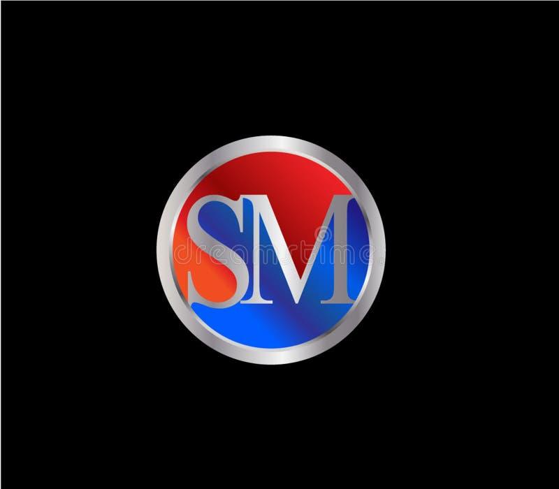 Forma inicial Logo Design posterior color plata azul rojo del círculo del SM ilustración del vector