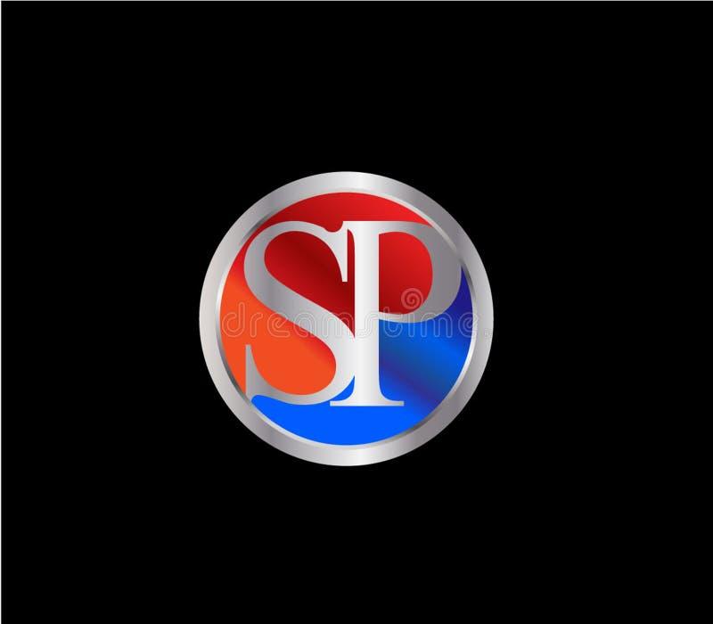 Forma inicial Logo Design posterior color plata azul rojo del círculo del SP ilustración del vector