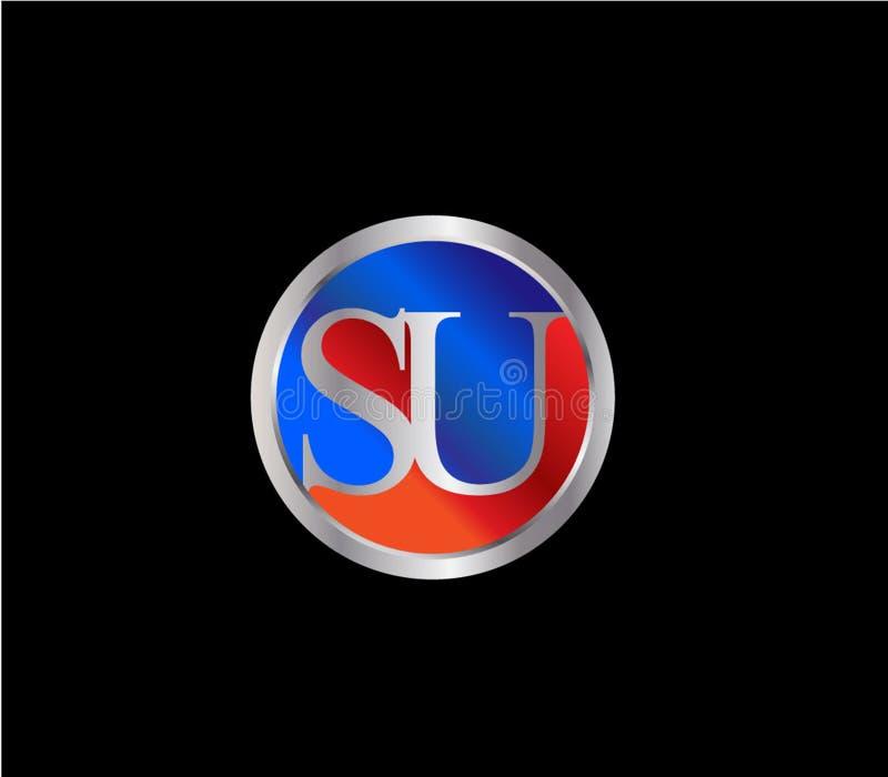 Forma inicial Logo Design posterior color plata azul rojo del c?rculo del SU libre illustration