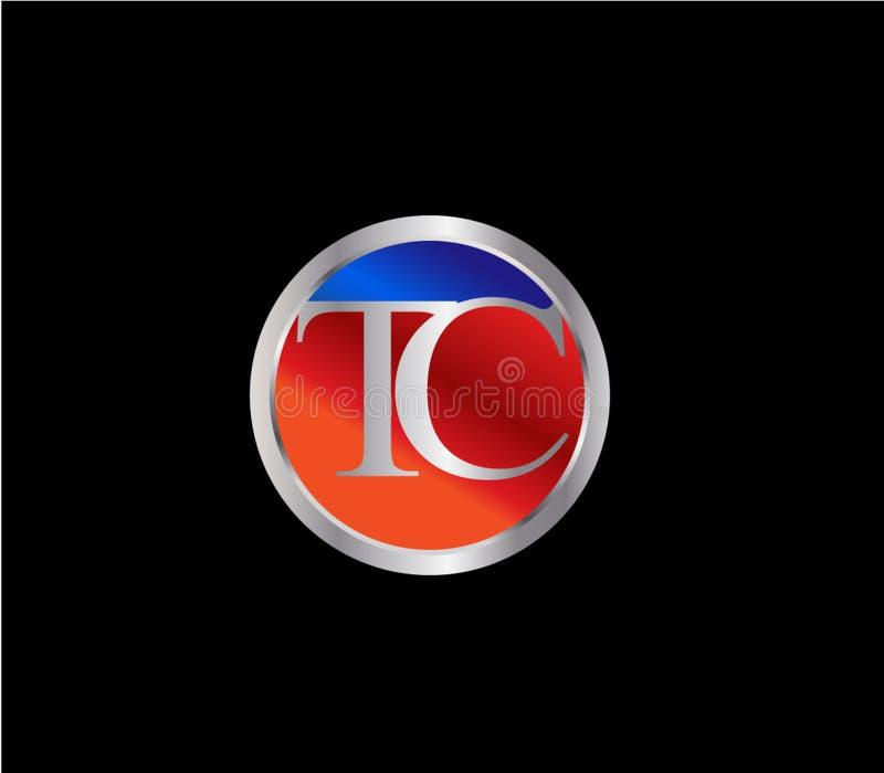 Forma inicial Logo Design posterior color plata azul rojo del círculo del TC stock de ilustración