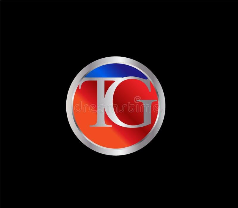 Forma inicial Logo Design posterior color plata azul rojo del círculo del TG libre illustration