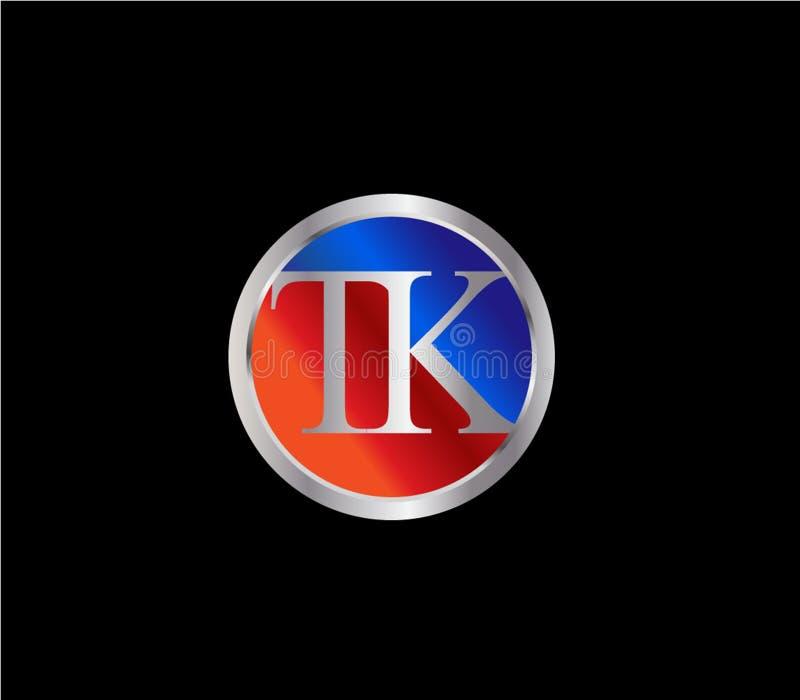 Forma inicial Logo Design posterior color plata azul rojo del círculo del TK stock de ilustración