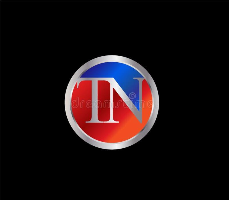 Forma inicial Logo Design posterior color plata azul rojo del círculo del TN ilustración del vector