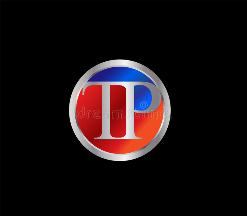 Forma inicial Logo Design posterior color plata azul rojo del c?rculo del TP stock de ilustración