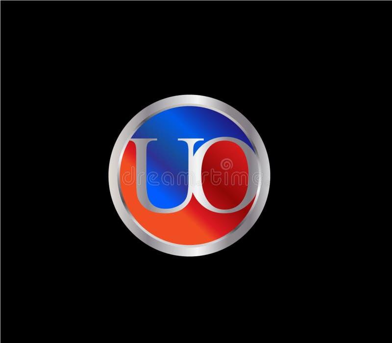 Forma inicial Logo Design posterior color plata azul rojo del círculo del UO ilustración del vector