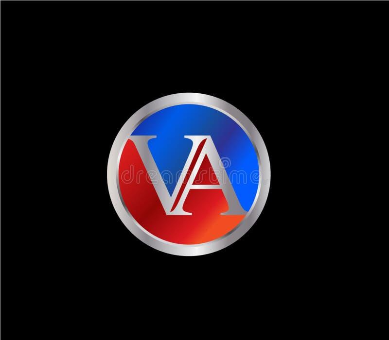 Forma inicial Logo Design posterior color plata azul rojo del círculo del VA stock de ilustración