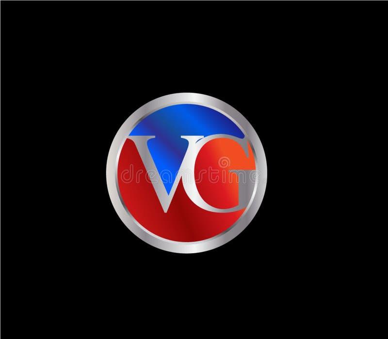 Forma inicial Logo Design posterior color plata azul rojo del c?rculo del VG stock de ilustración