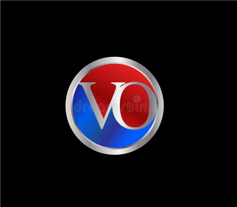Forma inicial Logo Design posterior color plata azul rojo del círculo del Vo stock de ilustración