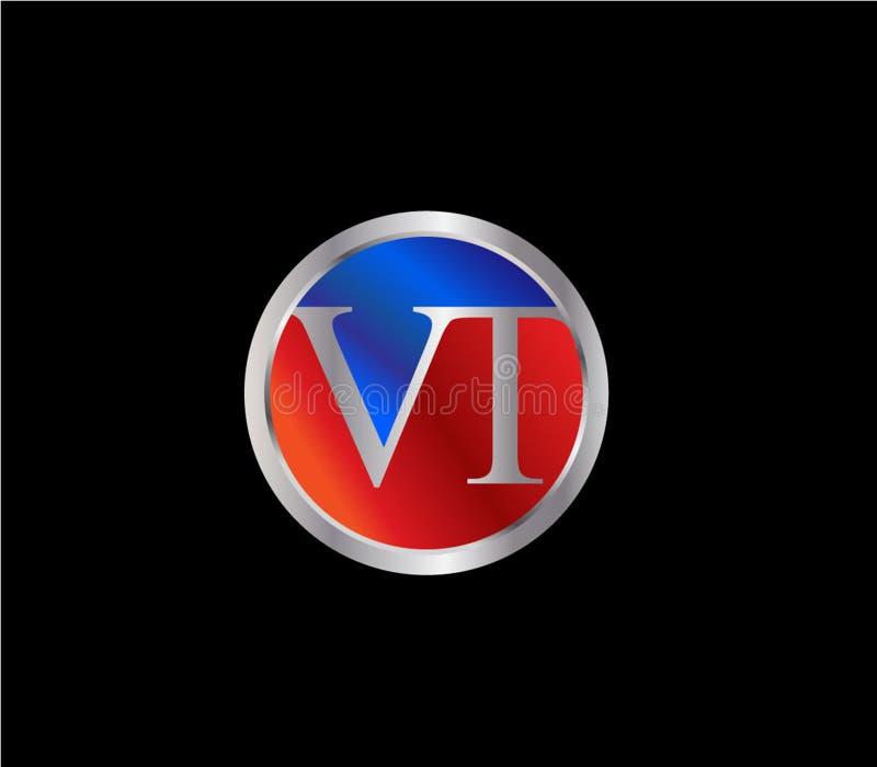Forma inicial Logo Design posterior color plata azul rojo del c?rculo del VT stock de ilustración