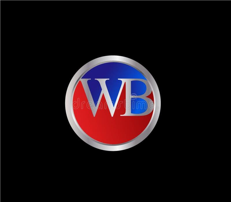 Forma inicial Logo Design posterior color plata azul rojo del círculo del WB ilustración del vector