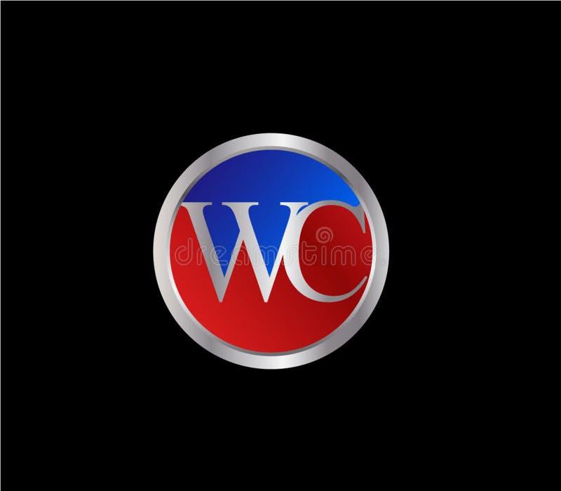Forma inicial Logo Design posterior color plata azul rojo del c?rculo del WC ilustración del vector