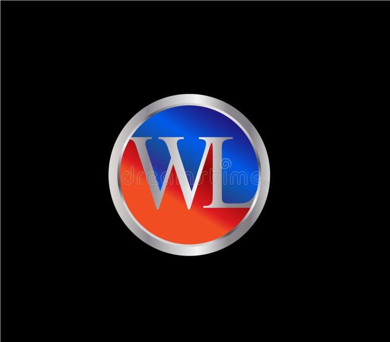 Forma inicial Logo Design posterior color plata azul rojo del círculo del WL ilustración del vector