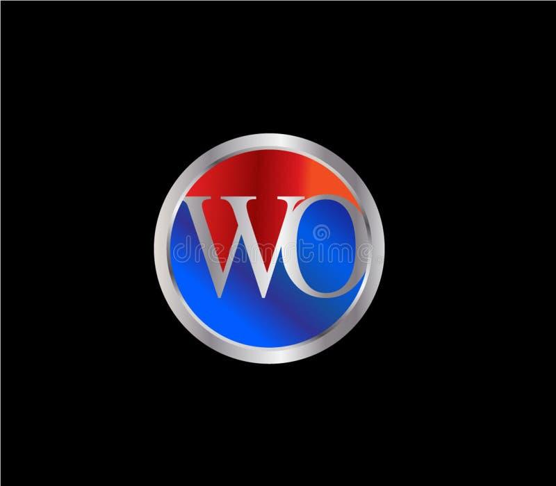 Forma inicial Logo Design posterior color plata azul rojo del círculo del WO libre illustration