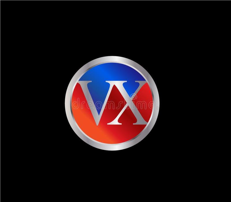 Forma inicial Logo Design posterior color plata azul rojo del c?rculo de WX ilustración del vector