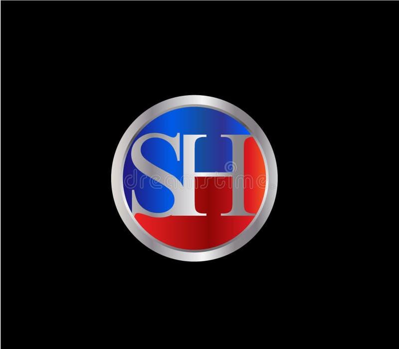 Forma inicial SH Logo Design posterior color plata azul rojo del círculo stock de ilustración