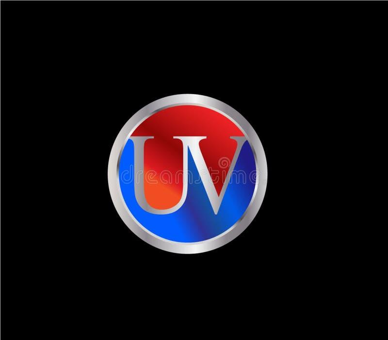 Forma inicial ULTRAVIOLETA Logo Design posterior color plata azul rojo del c?rculo ilustración del vector
