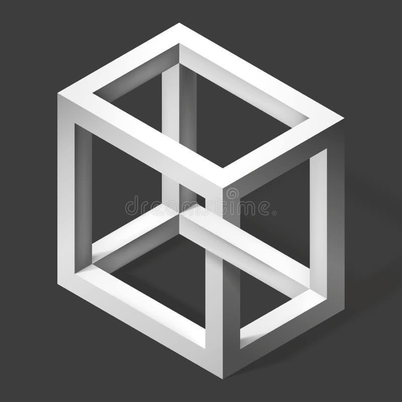 forma irreale del cubo 3D Forme dell'estratto di illusione Figura inesistente Costruzione fantastica di vettore royalty illustrazione gratis