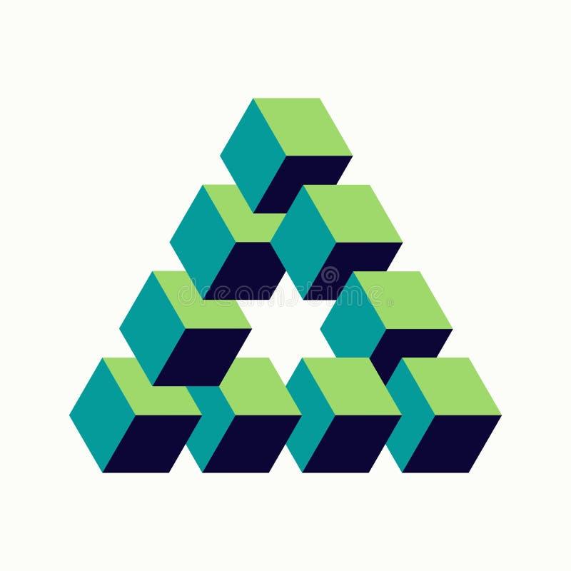 Forma isométrica de los cubos de la muestra imposible del triángulo stock de ilustración