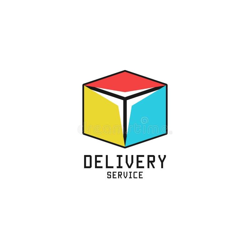 Forma isométrica del cubo de entrega del logotipo de la caja del icono logístico del servicio, plantilla del diseño del emblema d ilustración del vector