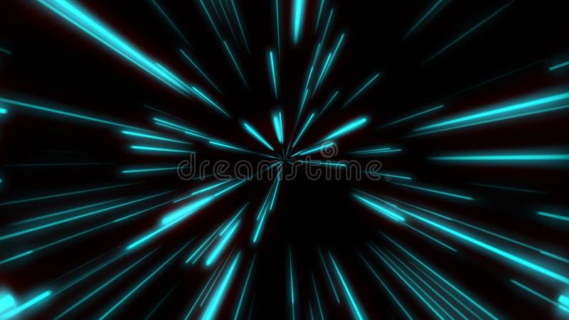 Forma linea Neon Blue e Red Light Dark Stress Semplice Zoom a velocità futuristica Cyber Sfocatura del fascio di sfondo illustrazione di stock