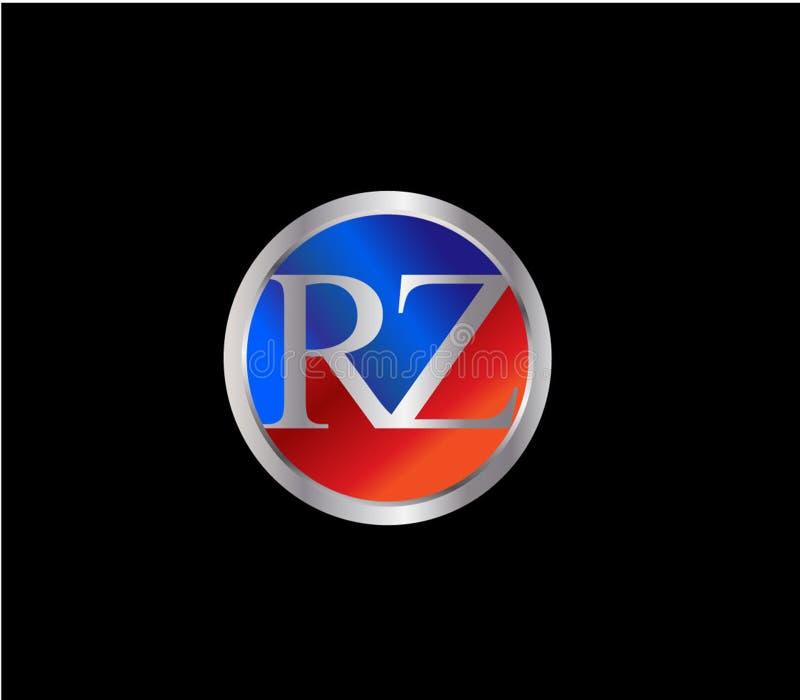 Forma Logo Design posterior color plata azul rojo del círculo de la inicial del RZ ilustración del vector