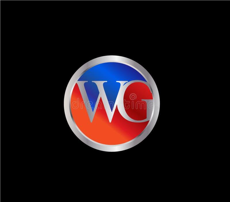 Forma Logo Design posterior color plata azul rojo del c?rculo de la inicial del WG libre illustration