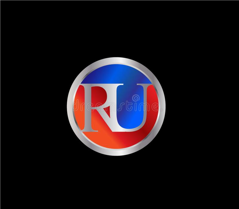 Forma Logo Design posterior color plata azul rojo del círculo de RU Initial ilustración del vector