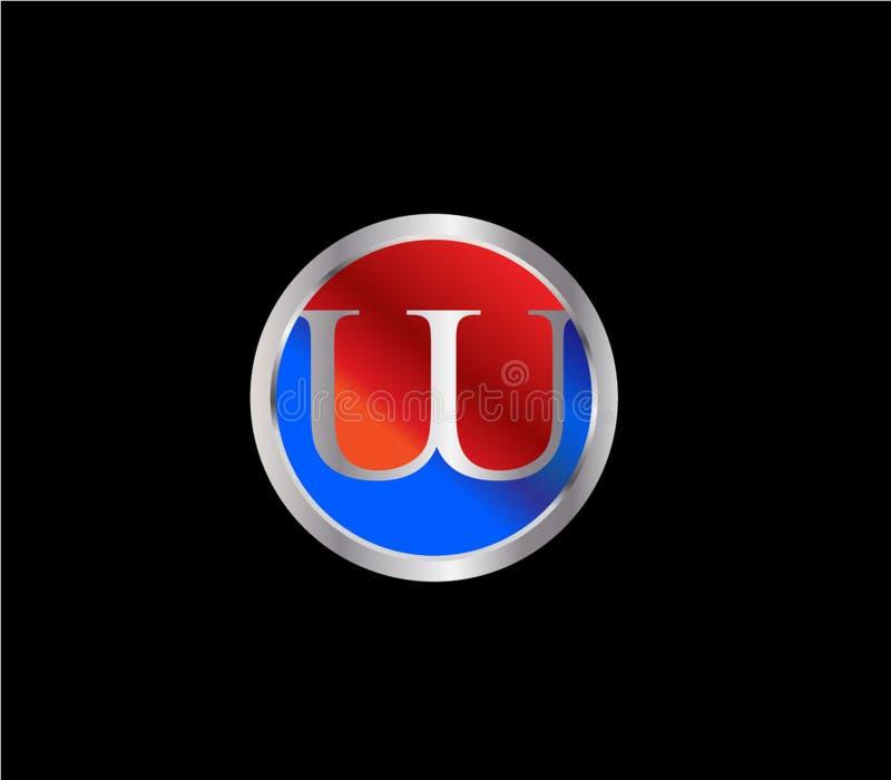 Forma Logo Design posterior color plata azul rojo del c?rculo de UUInitial stock de ilustración