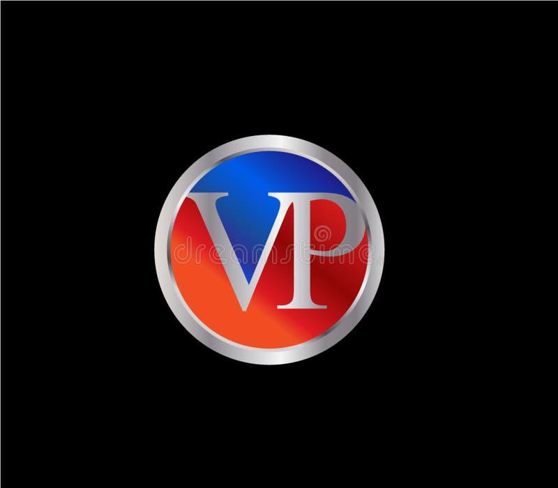 Forma Logo Design posterior color plata azul rojo del círculo de VP Initial libre illustration
